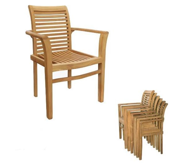 three counties teak stacking chair